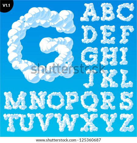 Vector illustration of cloud alphabet on a blue sky background. Font with serifs Uppercase - stock vector