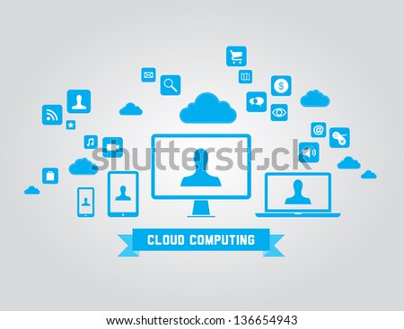 Vector illustration of cloud computing technology concept with abstract icons and design elements. Isolated on gray background - stock vector