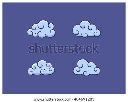 Vector illustration of cloud icons - stock vector