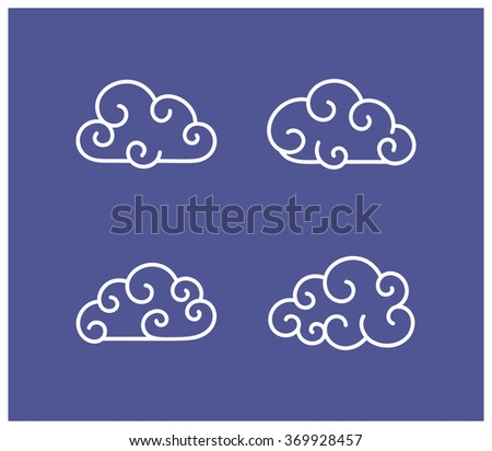 Vector illustration of cloud icons collection - stock vector