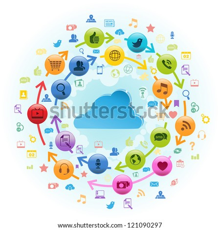 Vector illustration of cloud with icons rotating around it. - stock vector