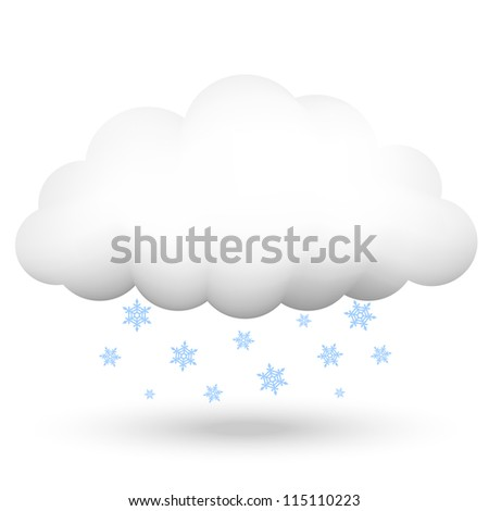 Vector illustration of cloud with snowflakes - stock vector