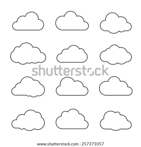 Vector illustration of clouds collection. Thin lines icons. - stock vector