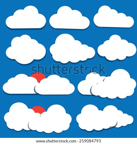 Vector illustration of clouds set - stock vector