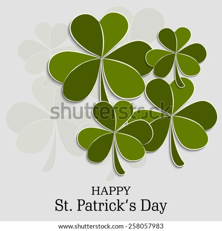 Vector illustration of clover for Happy St. Patrick's Day in gray background. - stock vector