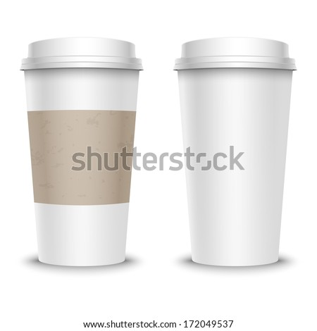 Vector illustration of coffee cup, with cardboard cover - stock vector