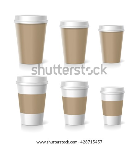 Vector illustration of coffee cups set, isolated - stock vector
