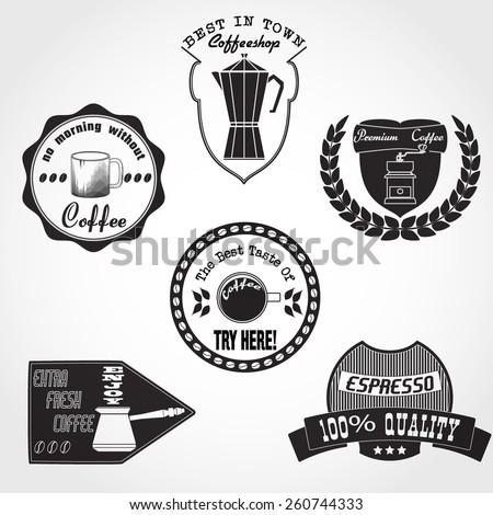 Vector Illustration of Coffee Logo for Design your Restaurant, Website, Background Banner. Set Label cafe Menu Template - stock vector