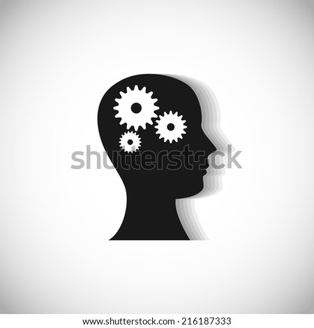 Vector illustration of cogs or gears in human head. Logo design. Innovation or technology concept. Face icon isolated on white. - stock vector