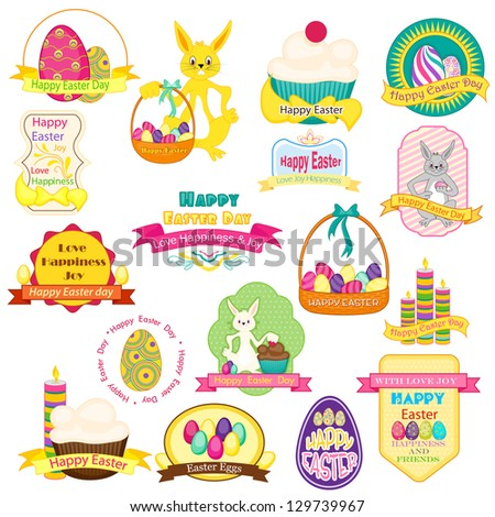 vector illustration of collection of badge for Easter with eggs and bunny - stock vector