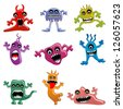 vector illustration of collection of cartoon alien and monster - stock vector