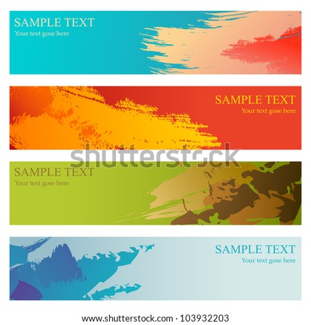 vector illustration of collection of colorful grungy banner - stock vector