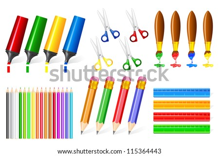 vector illustration of collection of colorful office stationery - stock vector