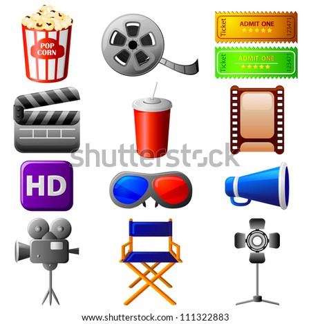 vector illustration of collection of different cinema icon - stock vector