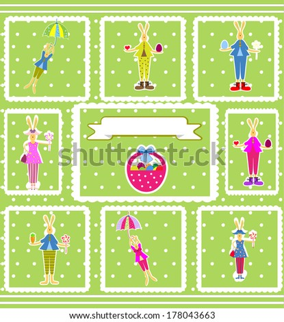 Vector illustration of collection of Easter bunny. Happy Easter design elements set - stock vector