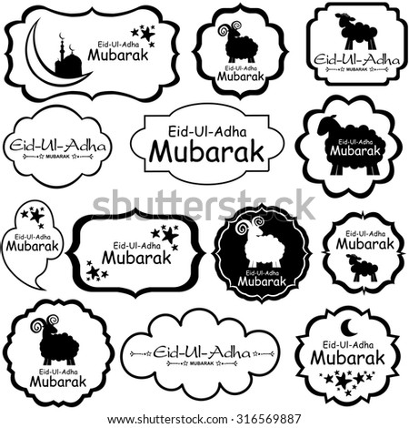 vector illustration of collection of Eid tag label. Greeting tag  for Muslim Community Festival of sacrifice Eid-Ul-Adha with sheep. - stock vector
