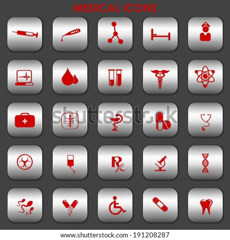 vector illustration of collection of medical icons - stock vector
