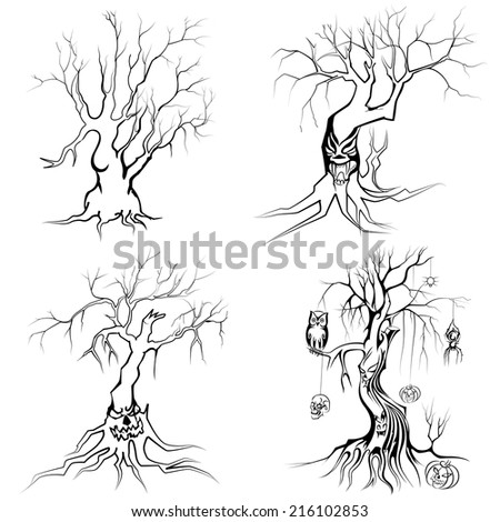 vector illustration of collection of scary Halloween tree - stock vector
