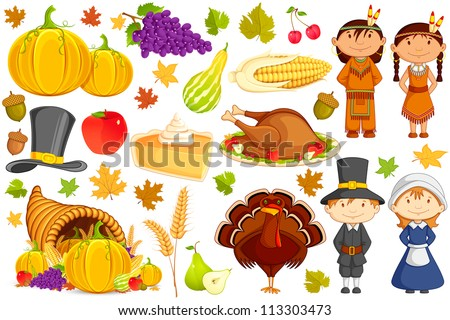 vector illustration of collection of Thanksgiving object - stock vector