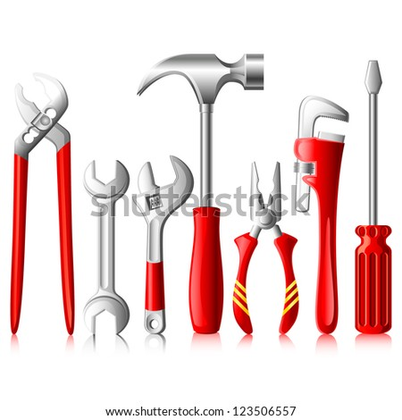 vector illustration of collection of tools against white - stock vector