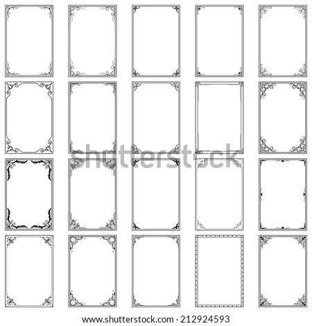 vector illustration of collection of vintage calligraphic frame - stock vector