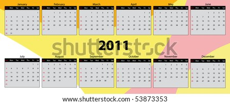 Vector illustration of color calendar for year 2011. - stock vector