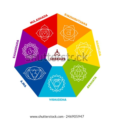 Vector illustration of Color chakra scheme on white background - stock vector