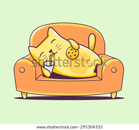 Vector illustration of color character cat lying on the sofa with milk and cookies on green background. Hand draw line art design for web, site, advertising, banner, poster, board, print and card.   - stock vector