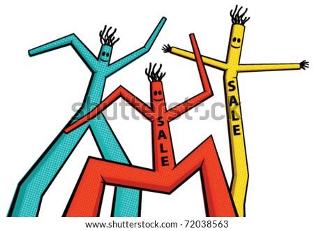 Vector illustration of color dancing men - stock vector