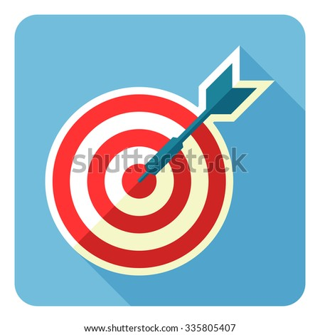 Vector illustration of color dartboard and darts for darts game. Vector illustration. Flat design. - stock vector