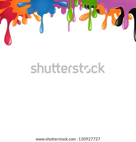Vector Illustration of Color Paint Splashes - stock vector