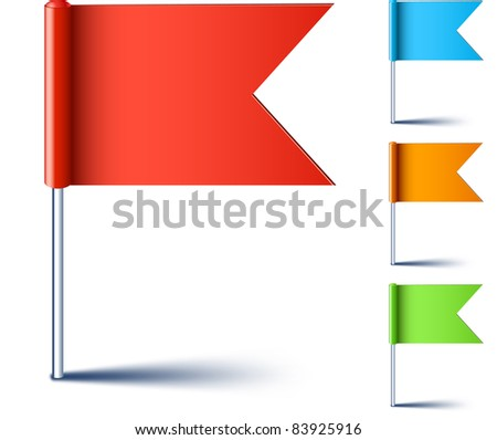 Vector illustration of color pin flags. - stock vector