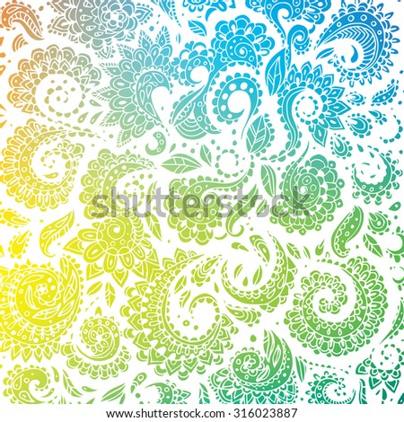 Vector illustration of Color seamless floral pattern - stock vector