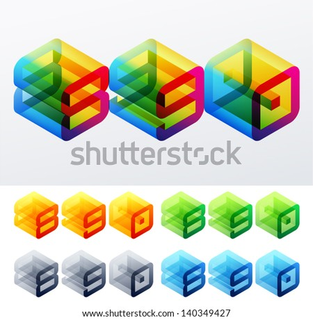 Vector illustration of colored text in isometric view. Cube-styled monospace characters. 8 9 0 - stock vector