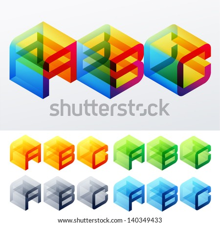 Vector illustration of colored text in isometric view. Cube-styled monospace characters. A B C - stock vector