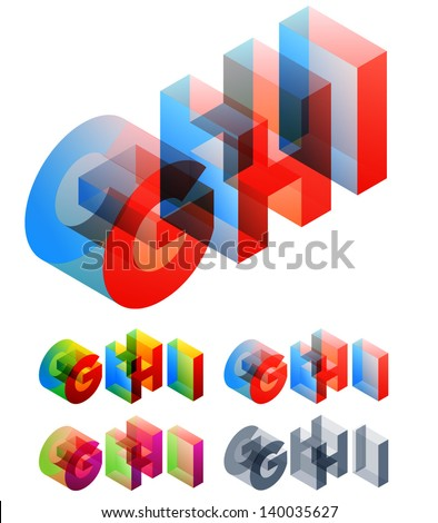 Vector illustration of colored text in isometric view. Standard characters. letters G H I - stock vector