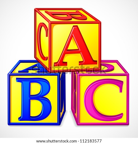 vector illustration of colorful abc block against white - stock vector