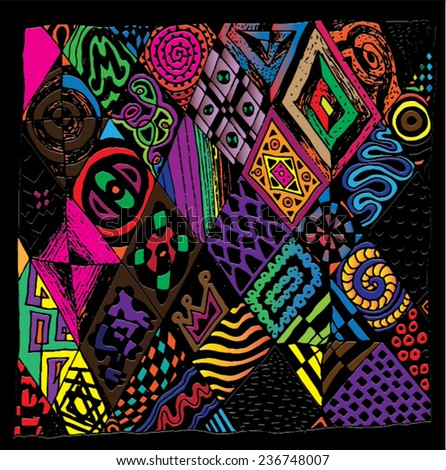 Vector illustration of colorful abstract tribal like drawing. Hand drawn illustration. - stock vector