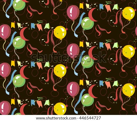 Vector Illustration of Colorful Balloons, pattern, decorative  ornament on a  background, of   fabric, packing paper, card, the invitation. - stock vector