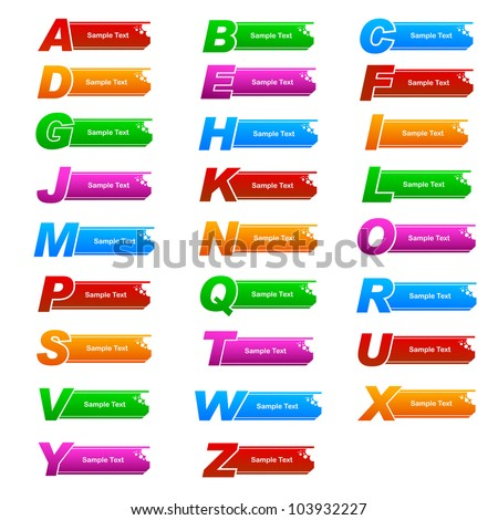 vector illustration of colorful banner with different alphabet - stock vector