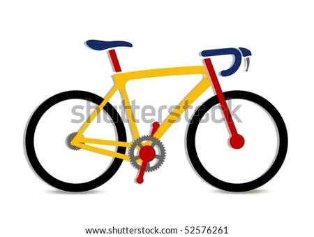 Vector illustration of colorful bike art - stock vector