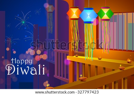 vector illustration of colorful Diwali hanging lantern with firework backdrop - stock vector