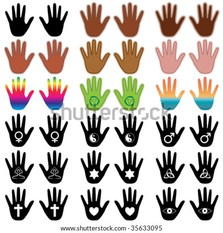 Vector illustration of colorful ethnic hand elements. - stock vector