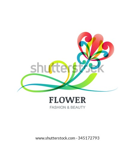 Vector illustration of colorful exotic flower. Abstract creative orchid logo sign. Trendy design concept for beauty salon, spa, natural organic cosmetics, makeup, visage, accessories, organic product. - stock vector