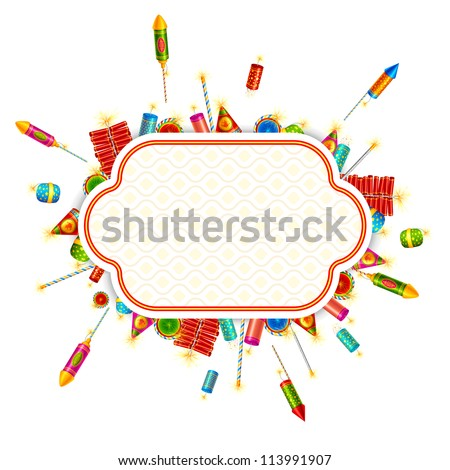 vector illustration of colorful fire cracker around blank space - stock vector