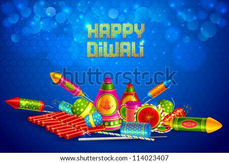 vector illustration of colorful fire cracker for Happy Diwali - stock vector