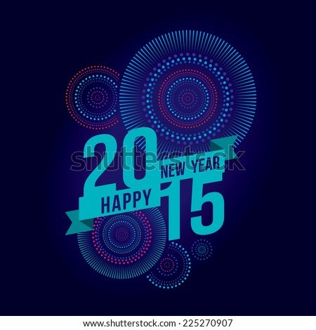 Vector illustration of Colorful fireworks. Happy new year 2015 theme - stock vector