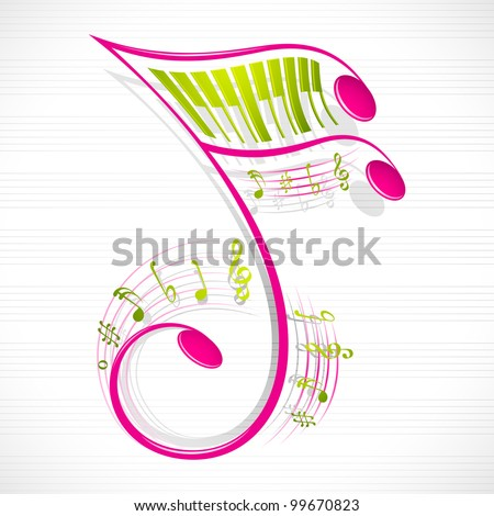 vector illustration of colorful floral musical note - stock vector