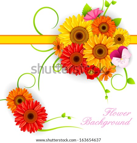 vector illustration of colorful Flower background - stock vector