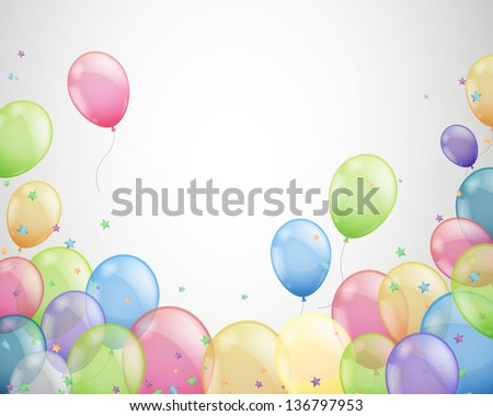 Vector Illustration of  Colorful Flying Balloons - stock vector